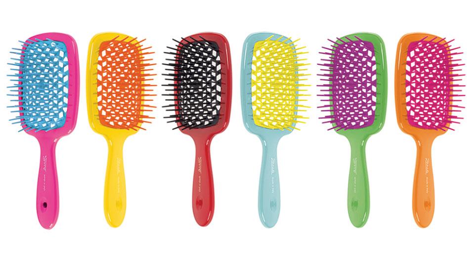 Расческа для волос цветная линия Janeke Color Line Hairbrush With Soft Moulded.