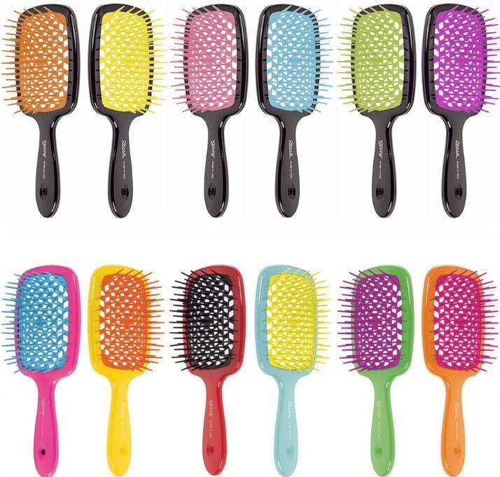 Расческа для волос цветная линия Janeke Color Line Hairbrush With Soft Moulded Tips.